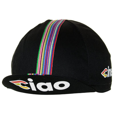 Peak up view of the Cinelli Ciao Black Cotton Cycling Cap, with the Cinelli-inspired CIAO logo on underside.