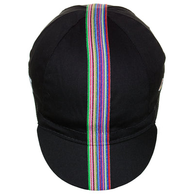 Front of the Cinelli Ciao Black Cotton Cycling Cap, showing the multicoloured woven twill ribbon down the centre of the cap that continues onto the peak.