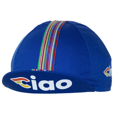 Peak up view of the Cinelli Ciao Blue Cotton Cycling Cap, with the Cinelli-inspired CIAO logo on underside.