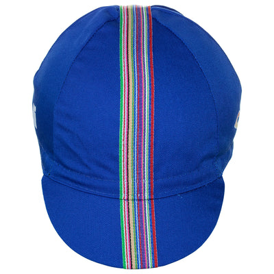 Front of the Cinelli Ciao Blue Cotton Cycling Cap, showing the multicoloured woven twill ribbon down the centre of the blue cap that continues onto the peak.