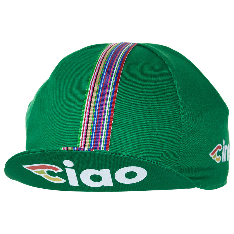 Side of the Cinelli Ciao Green Cotton Cycling Cap. The Cinelli logo is printed on the side and that wonderful multicoloured woven twill ribbon down the centre.