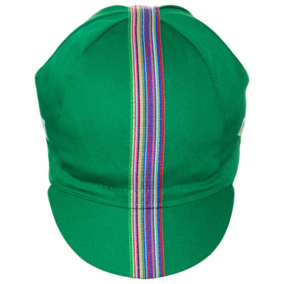 Front of the Cinelli Ciao Green Cotton Cycling Cap, showing the multicoloured woven twill ribbon down the centre of this green cycling cap that continues onto the peak.