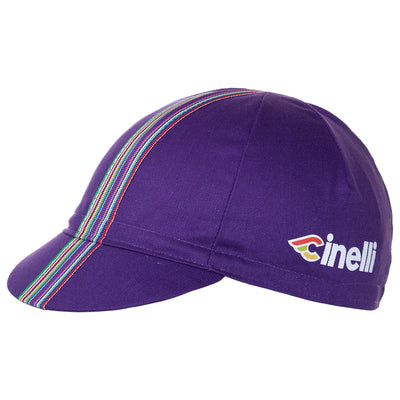 Side of the Cinelli Ciao Purple Cotton Cycling Cap. The Cinelli logo is printed on the side and that wonderful multicoloured woven twill ribbon down the centre.