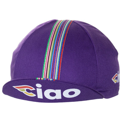Peak up view of the Cinelli Ciao Purple Cotton Cycling Cap, with the Cinelli-inspired CIAO logo on underside.