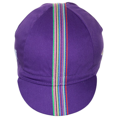 Front of the Cinelli Ciao Purple Cotton Cycling Cap, showing the multicoloured woven twill ribbon down the centre of the purple cap that continues onto the peak.