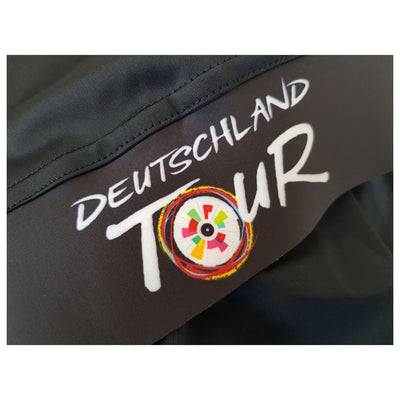 The Deutschland Tour logo is present on one leg gripper.