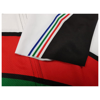 Raw-cut Lycra sleeves give the PDM jersey a modern look.