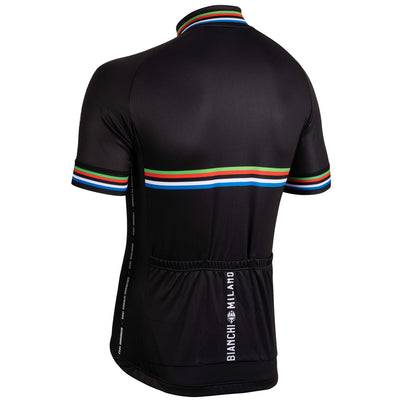 rear view bianchi milano black short sleeved jersey