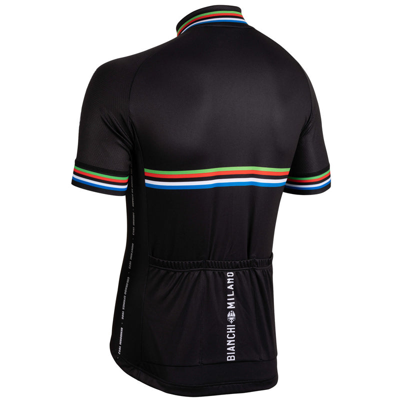 bianchi milano black cycling jersey with short sleeves
