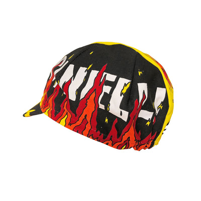 Alternative side view of the Cinelli Ana Benaroya Fire Cotton Cycling Cap, showing the white Cinelli logo in amongst the flames.