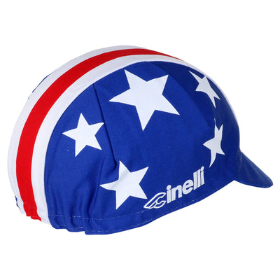 On the reserve side of the Nelson Vails Cycling Cap, the Cinelli logo is screen printed alongside five white stars.