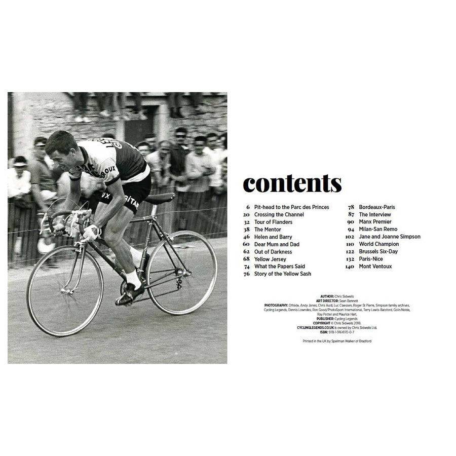 Front cover of the latest Tom Simpson Book - Cycling Legends 01 by Chris Sidwells