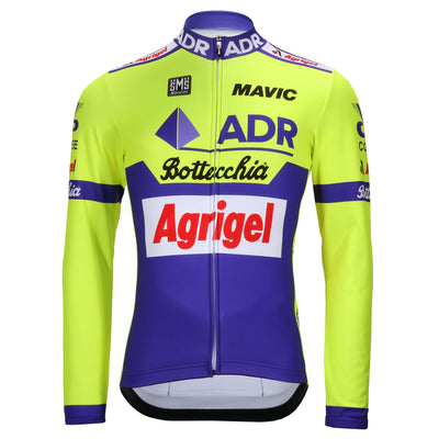 Front of the ADR Agrigel Bottecchia Long Sleeve retro jersey by Santini.