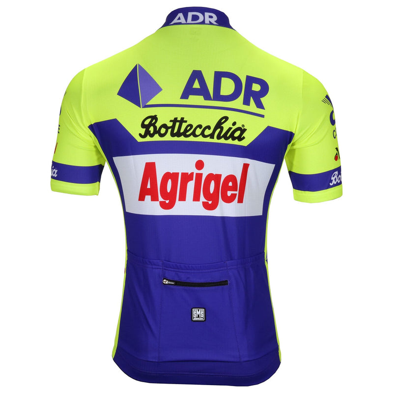 Front of the ADR Agrigel Bottecchia retro jersey by Santini made famous by Greg Lemond in 1989.