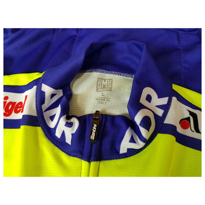 Collar of the ADR 1989 replica jersey showing the Santini zip puller.