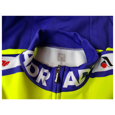 Collar of the ADR 1989 long sleeve jersey showing the Santini zip puller.