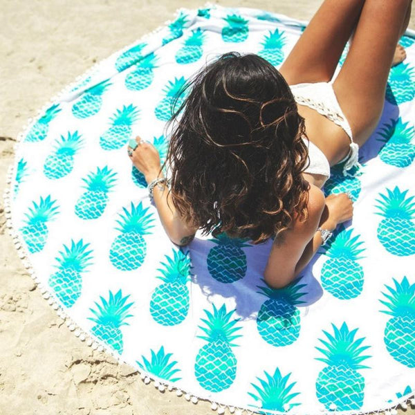 Stylish 2016 Summer Beach Round Towel Plaid Printed Cover Up Swimwear Bikini Boho Dress Bathing Suit Kimono Tunic JL23