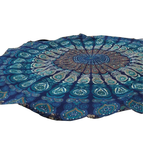 Essential Blue Color Round Beach Pool Home Shower Towel Blanket Table Cloth Yoga Mat Jul26