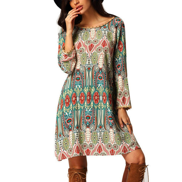 2016 Summer Vintage Ethnic Dress Sexy Women Boho Floral Printed Casual Beach Dress Loose Sundress