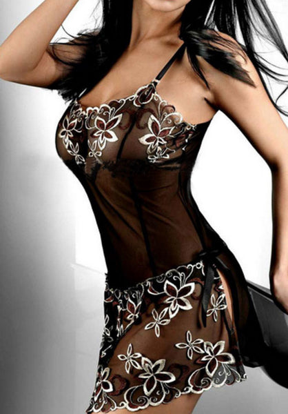 Black Embroidery Sexy Lingerie Dress