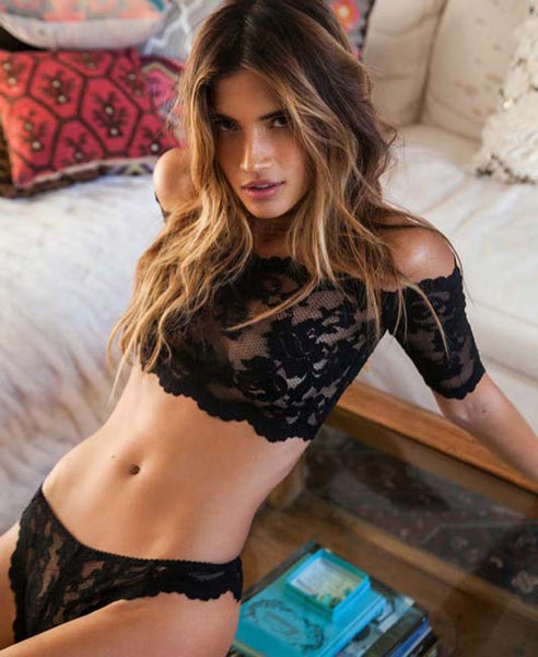 2016 sexy lingerie hot black rose lace one word shoulder perspective erotic lingerie+sexy thongs lenceria sexy costumes