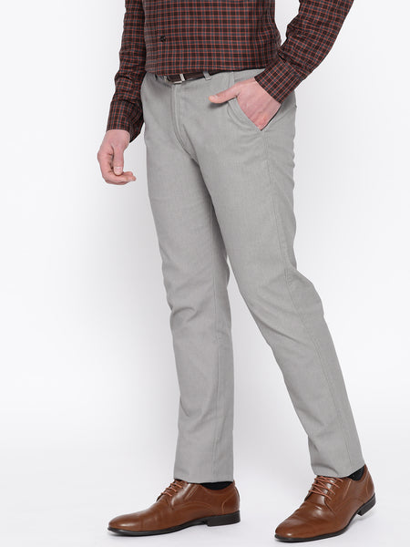 Hancock Men Grey Solid Cotton Stretch Slim Fit Formal Trouser