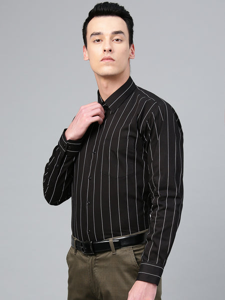 Hancock Men Black Pure Cotton Striped Slim Fit Formal Shirt