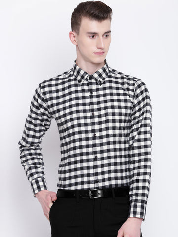 Hancock Men Black & Beige Pure Cotton Checks Slim Fit Formal Shirt