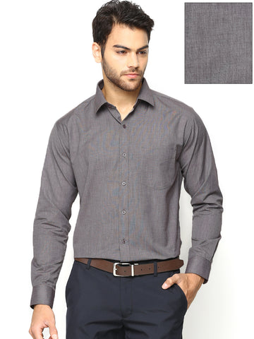 Hancock Grey Solid Chambray Slim Fit Formal Shirt