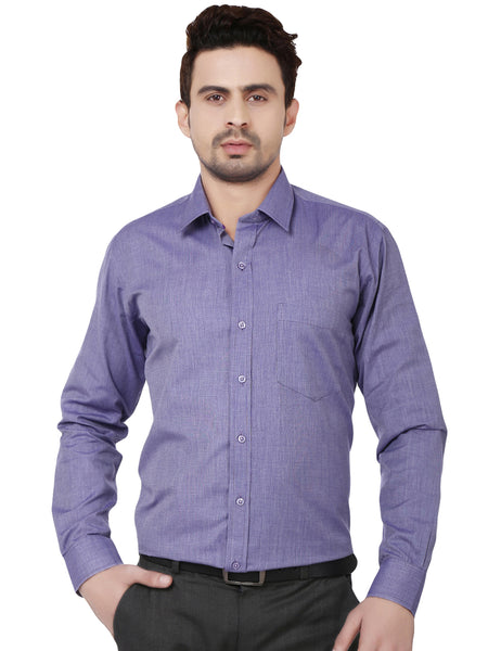 Hancock Purple Slim Fit Solid Chambray Cotton Rich Formal Shirt