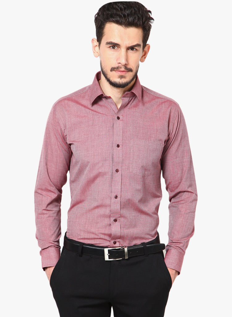Hancock Red Slim Fit Solid Chambray Cotton Rich Formal Shirt