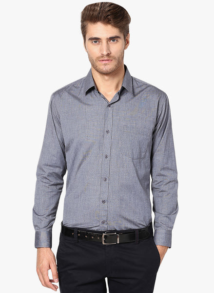 Hancock Navy Slim Fit Solid Chambray Cotton Rich Formal Shirt