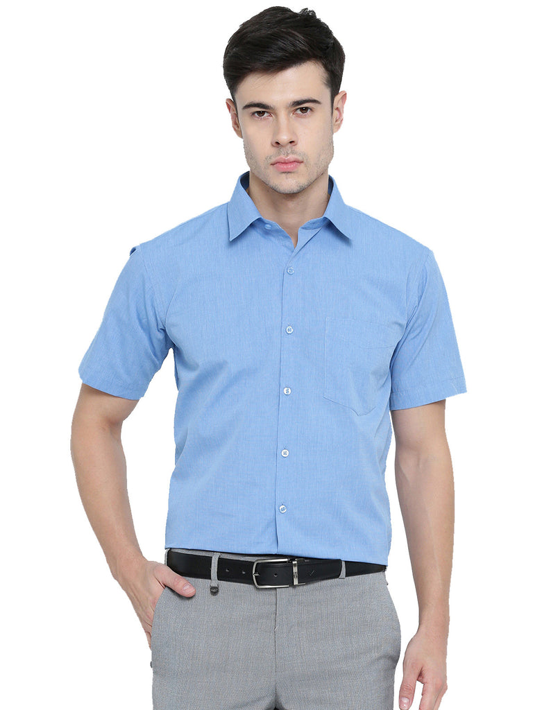 Hancock Blue Chambaray Pure Cotton Slim Fit Formal Shirt