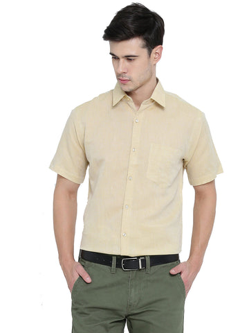 Hancock Beige Solid Linen Cotton Slim Fit Formal Shirt