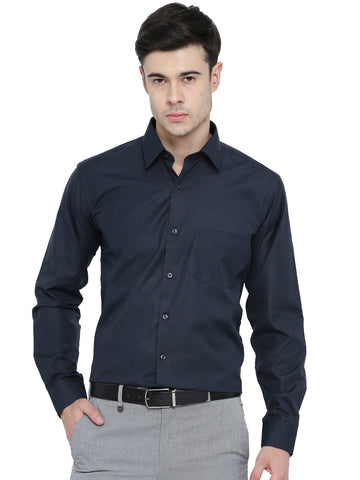 Hancock Navy Chambray Slim Fit Formal Shirt