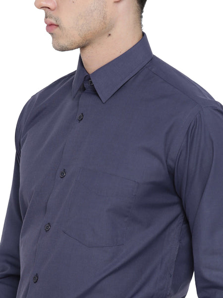 Hancock Purple Chambray Slim Fit Formal Shirt
