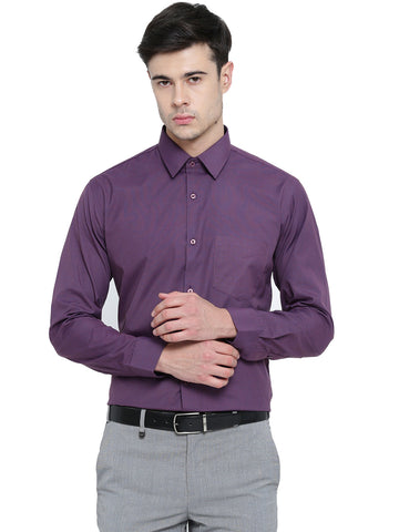 Hancock Wine Chambray Slim Fit Formal Shirt