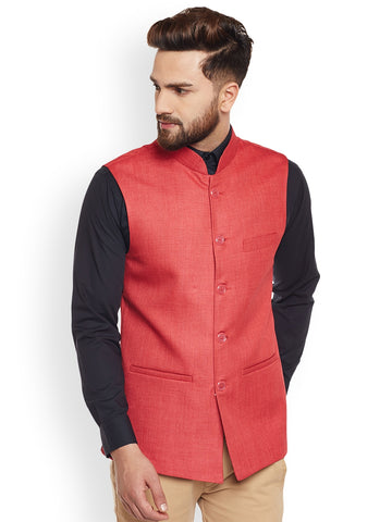 Hancock Coral Solid Slim Fit Formal Nehru Jacket