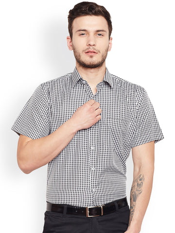 Hancock Black Checked Slim Fit Formal Shirt