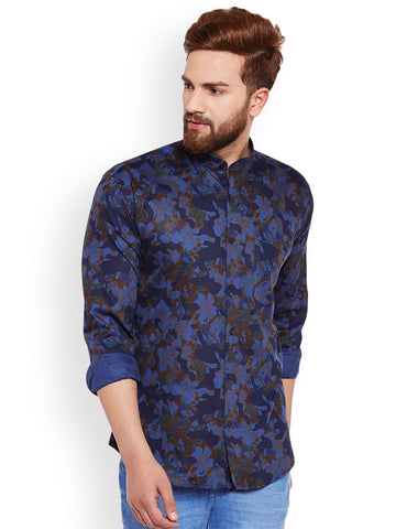 Hancock Blue Camouflage Printed Pure Cotton Slim Fit Casual Shirt