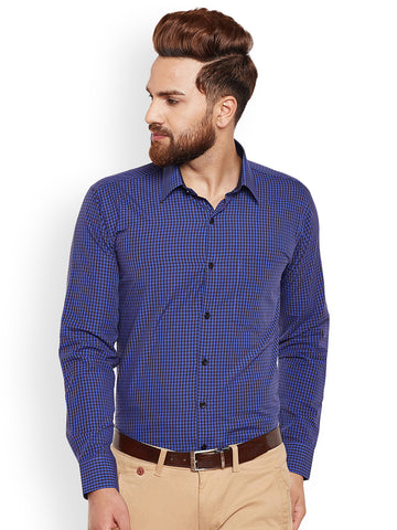 Hancock Purple & Black Gingham Checked Pure Cotton Slim Fit Formal Shirt