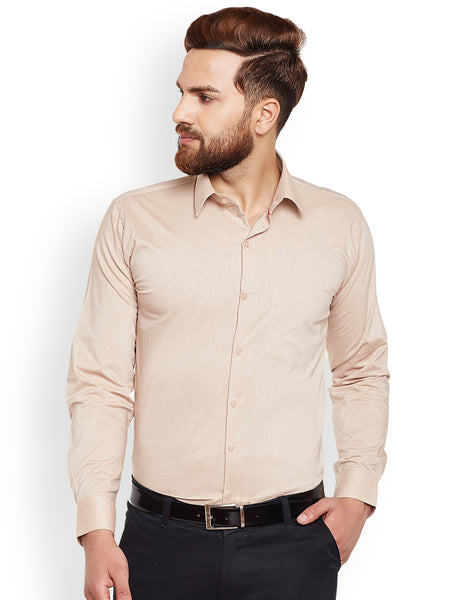 Hancock Fawn Solid Chambray Pure Cotton Slim Fit Formal Shirt