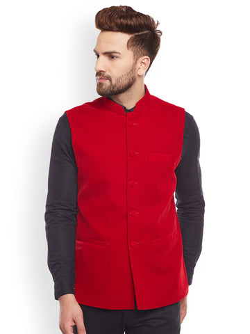 Hancock Red Solid Velvet Slim Fit  Nehru Jacket