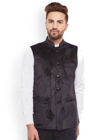 Hancock Quilted Velvet Designer Black Slim Fit  Nehru Jacket