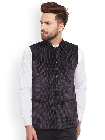 Hancock Black Polka Dot Printed Velvet  Slim Fit  Nehru Jacket