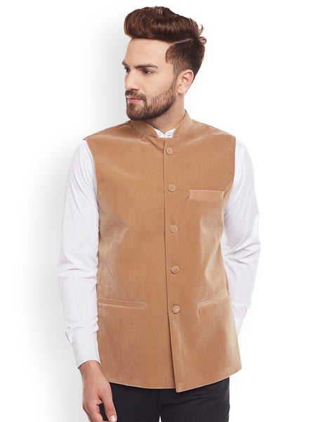 Hancock Tan Solid Velvet Slim Fit  Nehru Jacket