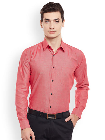 Hancock Red Solid Pure Cotton Slim Fit Formal Shirt
