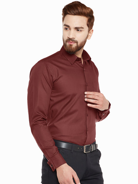 Hancock Maroon Double Cuff Slim Fit Pure Cotton Formal SHirt