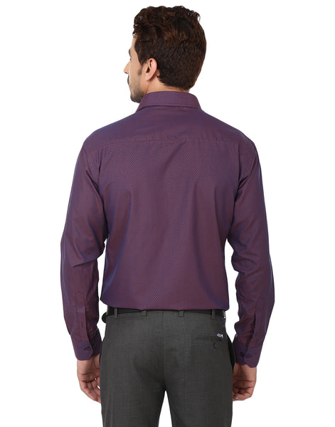 Hancock Wine Slim Fit Solid Dobby Cotton Rich Formal Shirt