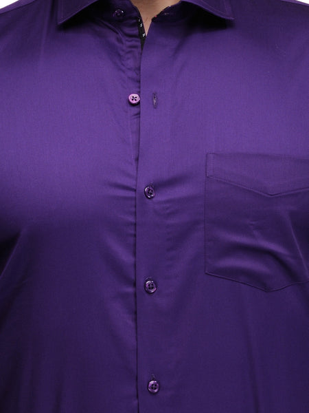 Hancock Purple Slim Fit Solid Satin Pure Cotton Formal Shirt